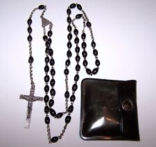 """Antique 20"""" Plastic Black Bead Rosary Marked """"ITALY"""" year 1830 with Case"""