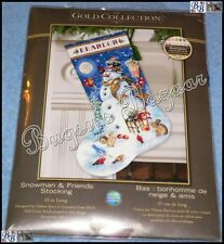 Dimensions GOLD SNOWMAN & FRIENDS STOCKING Christmas Counted Cross Stitch Kit
