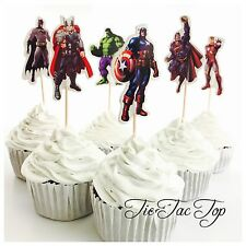 12x Avengers Superhero Cupcake Topper Pick. Party Supplies Lolly Loot Bag
