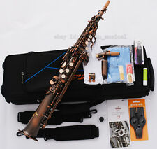 Professional TAISHAN Red Antique Soprano Saxophone Engraving Bell Sax With Case