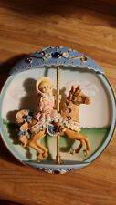"""3D """"Carousel Daydreams"""" Collector Plate #A Hold Onto Your Dreams Music Box Vtg"""