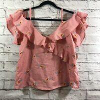 Gypsies & Moondust Pink Ruffled Floral Gingham Off-the-shoulder Top Juniors Sz L