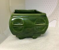 Vintage Cookson Footed Pottery Planter Dark Green Marked P-556-USA
