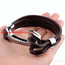 New Fashion Brown Leather Stainless Steel Men's Heavy Silver Hammer Bracelets