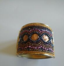 Hinged Bracelet Wide Brassy/Gold Tone Beaded Cuff Fashion Jewelry 9""