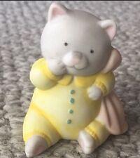 Hallmark Baby Gray Cat Kitten Yellow Pjs Pink Blanket Porcelain Animal Figurine