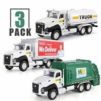 TEMI 3 Pack of Diecast City Transport Vehicles, Garbage Truck, Tanker Truck,