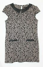 Dorothy Perkins Black Brown Patterned Collared Cap Sleeve Tunic Dress Size 14