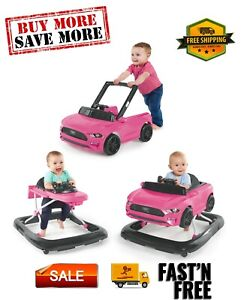 3 Ways to Play Ford Mustang Baby Walker with Activity Station Unisex 3 positions