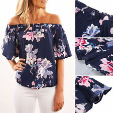 New Fashion Women Off-shoulder Short Sleeve Casual Blouse Loose Tops T-Shirt