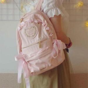 UK Women Cute Lolita Schoolbag Bookbag Girl Riband Shoulders Bag Kawaii Backpack