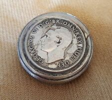 Silver Snuff Box with Coins - Great Britain George VI Penny Elizabeth II (#CB41)