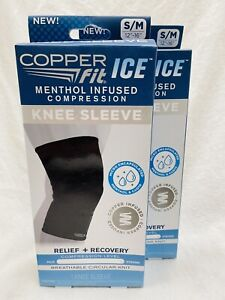 2 Copper Fit Ice Knee Sleeve S/M