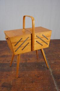 Sewing Box Wood Antique Sewing Table Utensilo Sewing Basket Danish Shelf 60er