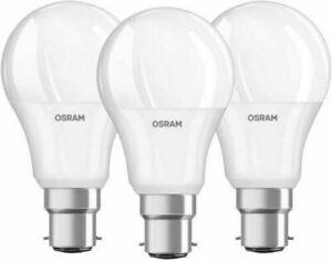Pack of 3 - Osram GLS LED 9W (60W) Watt B22 Bayonet Cap 2700k Frosted Bulbs
