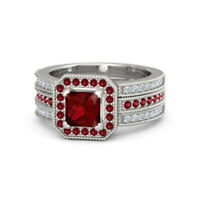 1.18 Ct Natural Ruby Gemstone Ring Diamond Rings 14K Solid White Gold Size 7 5 6