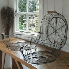 Set of 3 Vintage Style Large Oval Wire Baskets with Wooden Handles
