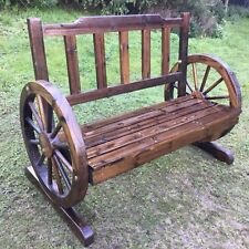 Bench Timber Outdoor Patio Park Wagon Wheel Chair Seat Wooden Garden Furniture