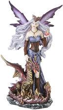 Elfe Fee mit Drache Deko Figur Drachenfee Fairy Mystik Fantasy Statue Gothic