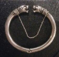 Antique French or German Solid Silver Panthere Bracelet-Ancien en Argent 800