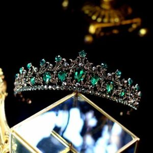 Vintage Black Baroque Tiaras Crowns Green Crystal Pageant Prom Wedding Jewelry