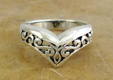 EXOTIC STERLING SILVER FILIGREE CHEVRON RING size 9  style# r0215