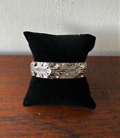 Vintage Designer Signed Whiting & Davis Silver Repousse Hinged Cuff Bracelet