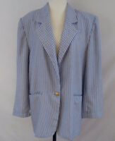 Vintage 80s Oversize Womens Blazer Size 11 Nautical Stripe Shoulder Pads Romania