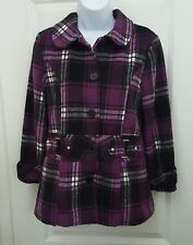 IZ Amy Byer Womens Girls Plaid Purple Belted Jacket Coat Sz Large 14 MSRP $80.00