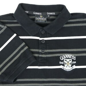 "Guinness Official Men Medium 43"" Golf Polo Shirt Stripe Black Embroidered Crest"