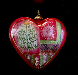 LI BIEN 2004 RED HEART SHAPED HAND PAINTED CHRISTMAS ORNAMENT SNOWFLAKE TREE