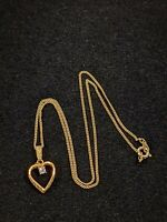 Vintage Gold Tone Open Heart Crystal Pendant Necklace 12406