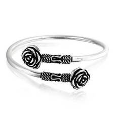 Bali Style Black Rose Flower Tips Bangle Bypass Cuff Bracelet Sterling Silver
