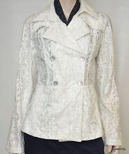 Nwt $498 Elie Tahari IRVING Floral Lace Rain Coat Jacket Parka Top ~White *M