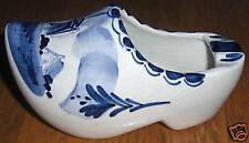 Souvenir Delft Blue Holland Ceramic Shoe Ashtray Windmill Design Vintage