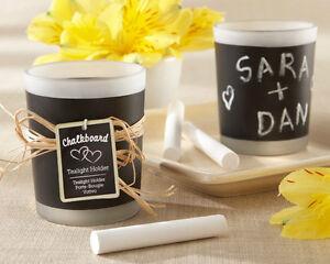 100 Chalkboard Frosted Glass Tea Light Candle Holder Wedding Favors