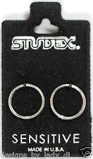Smooth Sleepers Hinged .925 Silver Hoop Earrings Studex Sensitive 18GA 3/8 Inch