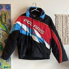 VINTAGE Polaris FULL ZIP SNOWMOBILE Racing JACKET COAT Red Blue Black White