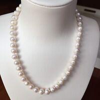 100% natural freshwater 9-9.5mm elegant pearl necklace 45cm length AB