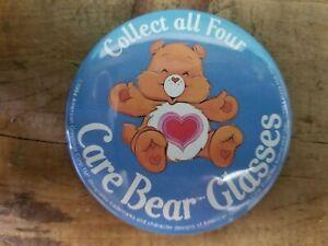 Vintage 1984 Pizza Hut Care Bears Glasses Promotional Pin pinback Button