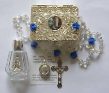 Lourdes Water, Our Lady of Lourdes Holy Water Pendant & Rose Rosary Beads