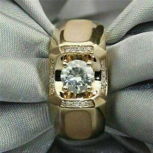 1.85Ct Round Cut Diamond 14K Yellow Gold Over Men's Engagement Ring Wedding Band