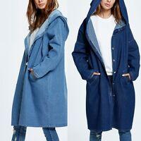 Women Casual Loose Denim Coat Hooded Hoodie Trench Outerwear Jean Jacket Fashion