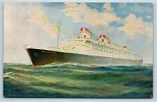 Postcard Italian Line SS Conte Di Savoia Steamer Ship c1930s V5