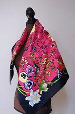 New AUTHENTIC Gucci Chrissy Fuschia Pink Flora Multicolor Silk Square Scarf