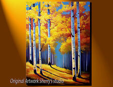 "Large ORIGINAL OIL  Painting Aspen Trees  18 x 24""  Fall Landscape Sherry Price"