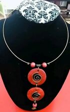 Red Gold choker Pendant statement necklace