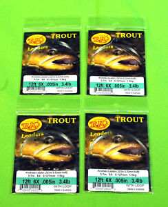 Rio  Trout   Tapered  Fly  Fishing  Leaders  4  –  New  Lot   with  Loop  12   F
