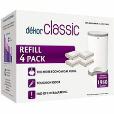 Dekor Classic Diaper Pail Refills 4 Count Most Economical System Quick &amp Easy