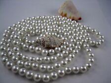 Lange Perlenkette Art Deco Stil 122 -126 cm lang Perlweiß